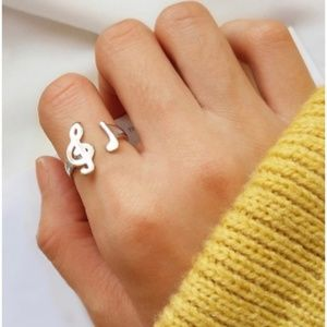 Silver Music Note Treble Clef Dainty Ring
